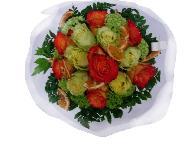 bouquet roses avec oranges