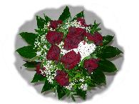 bouquet rond roses rouge coeur osier