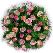 coussin rond rose variées