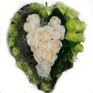 coeur roses blanche et verte